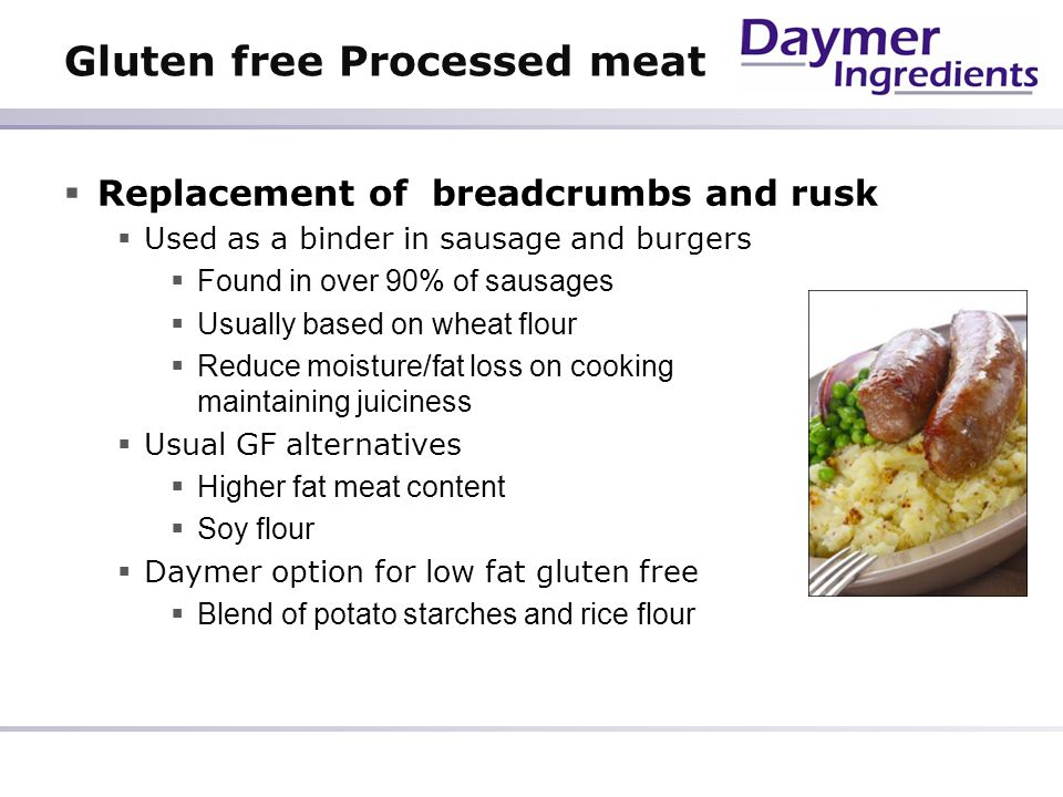 Gluten free Processed meat
