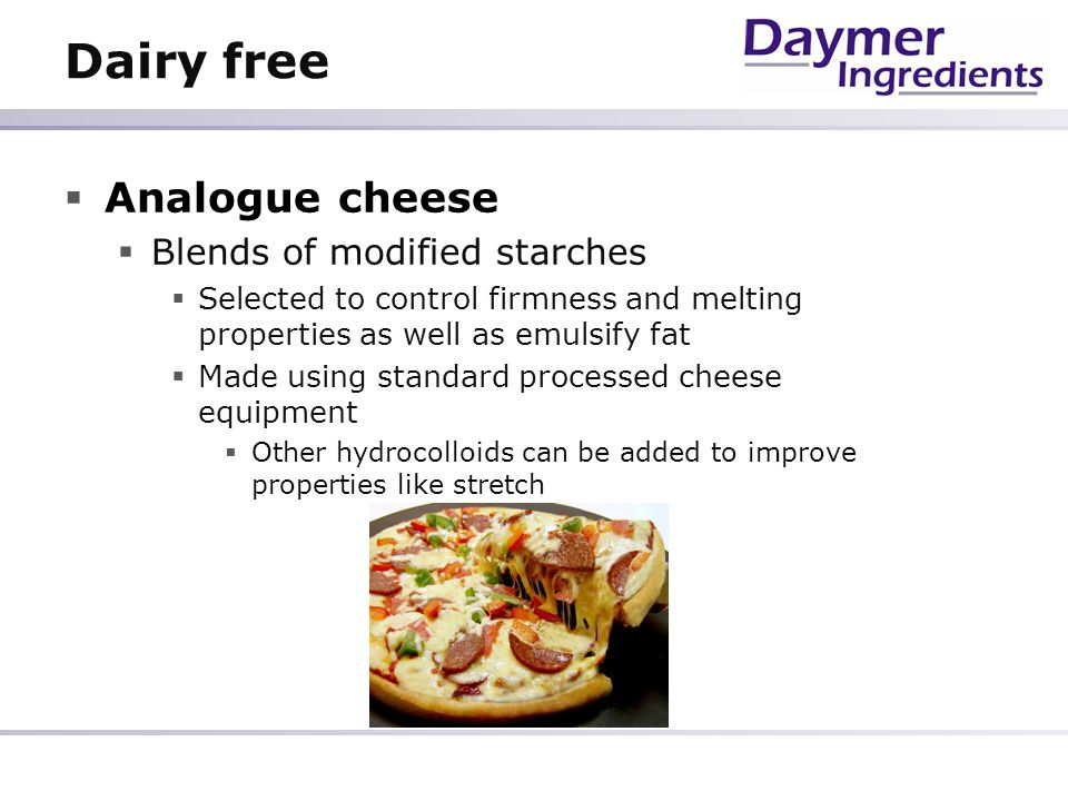 Dairy free Analogue cheese Blends of modified starches