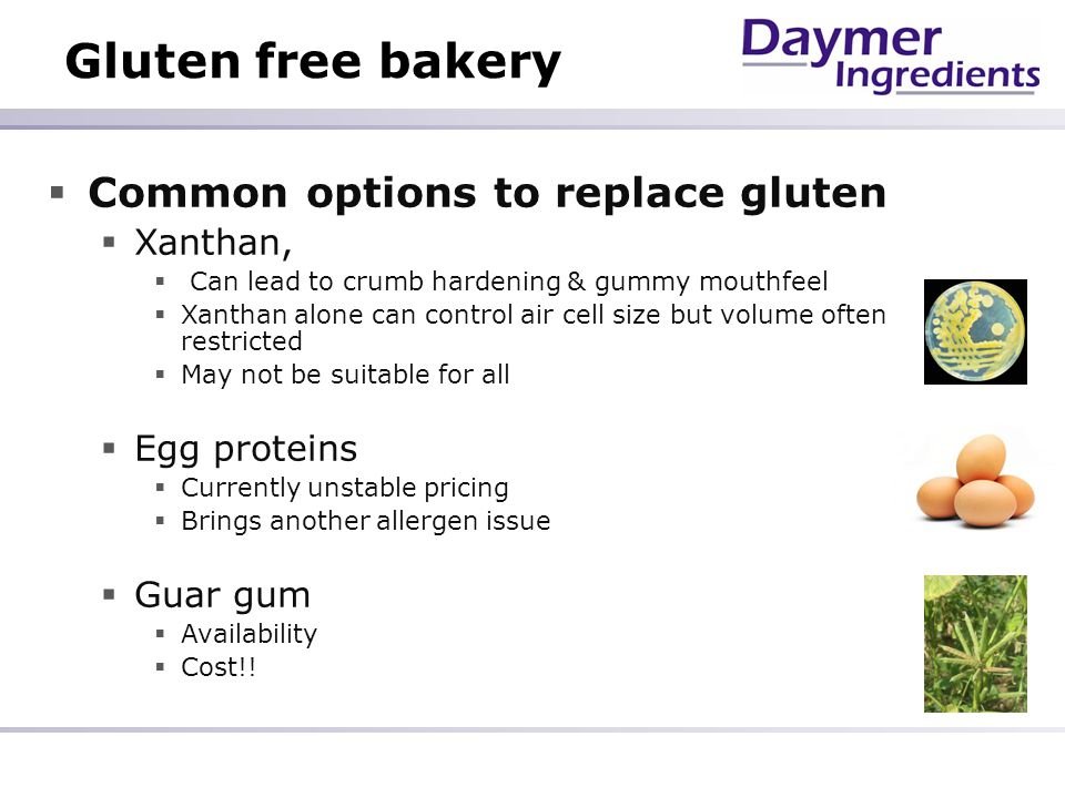 Gluten free bakery Common options to replace gluten Xanthan,