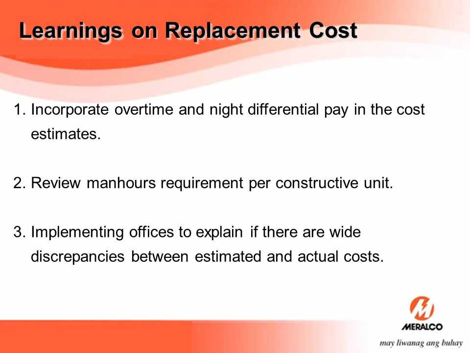 Learnings on Replacement Cost