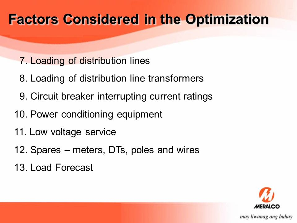 Factors Considered in the Optimization