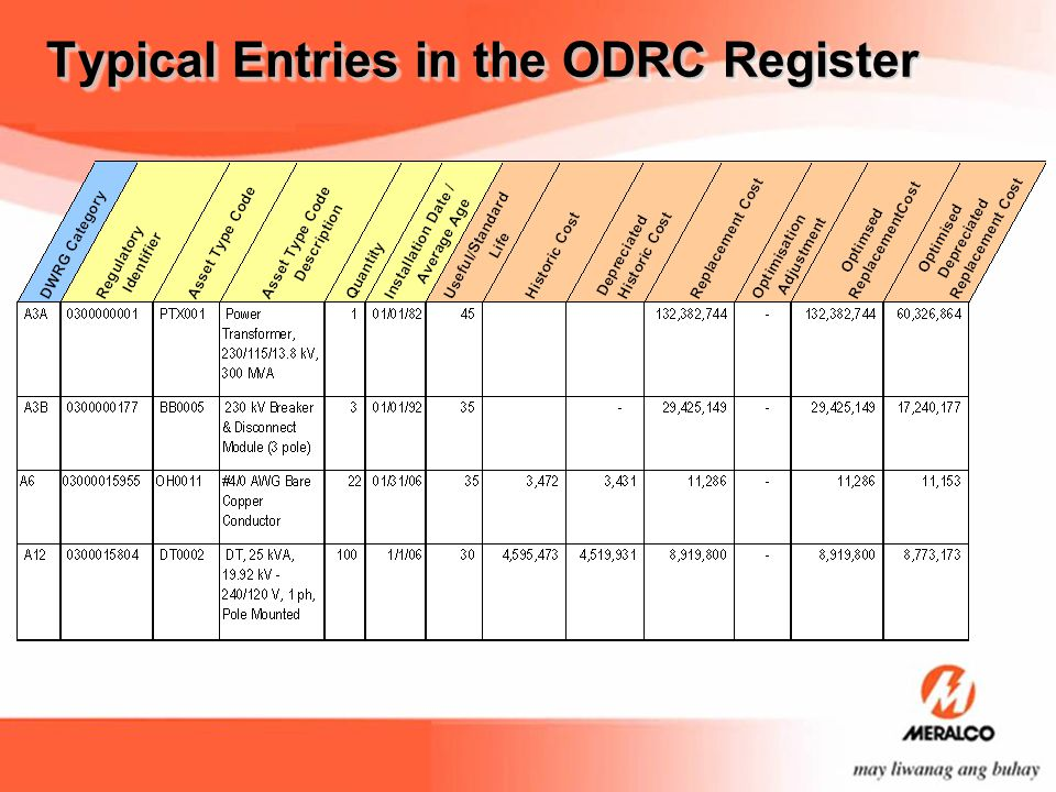 Typical Entries in the ODRC Register
