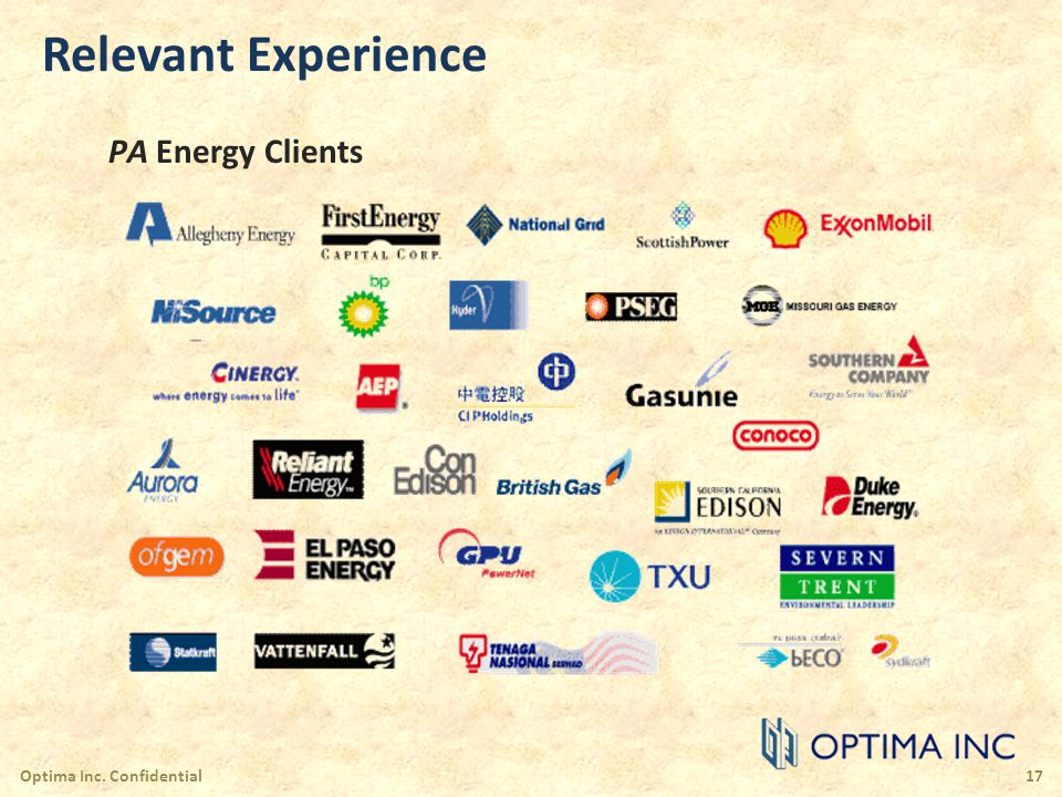 Relevant Experience PA Energy Clients Optima Inc. Confidential