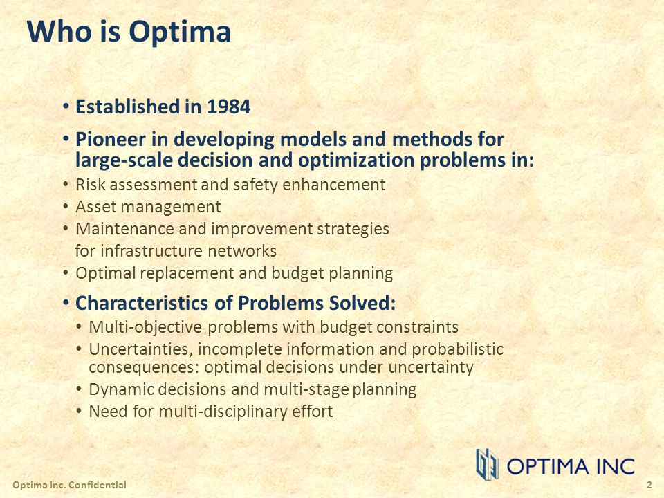 Who is Optima Established in 1984