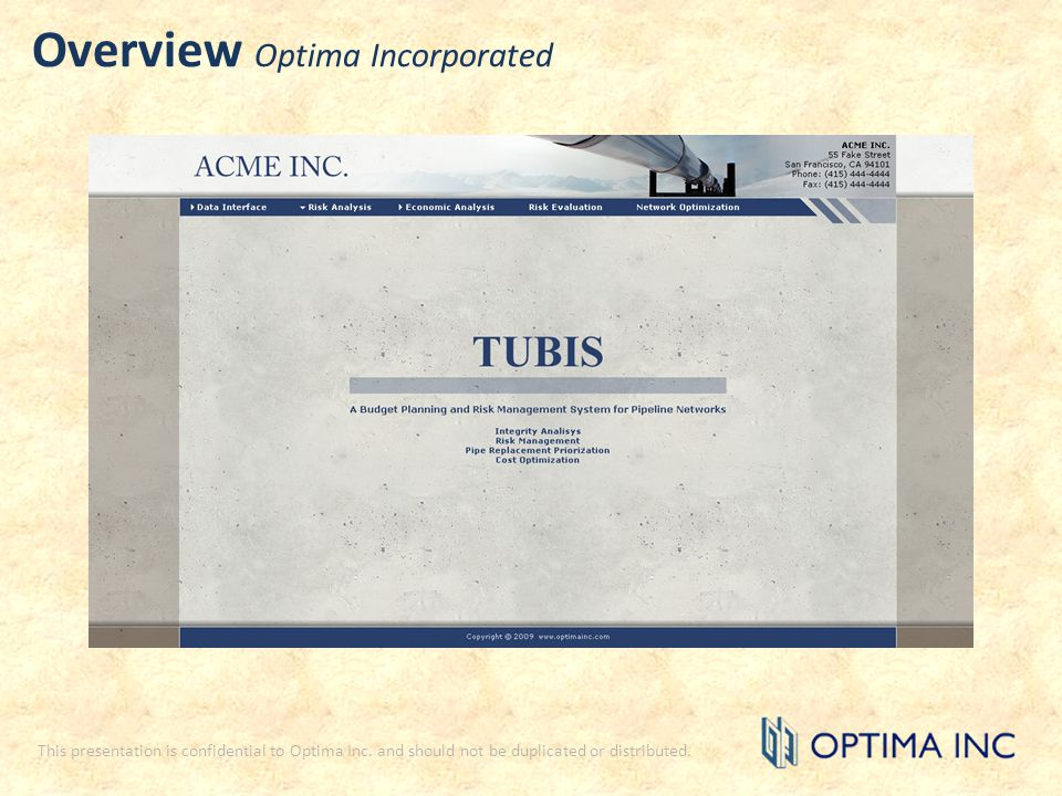 Overview Optima Incorporated