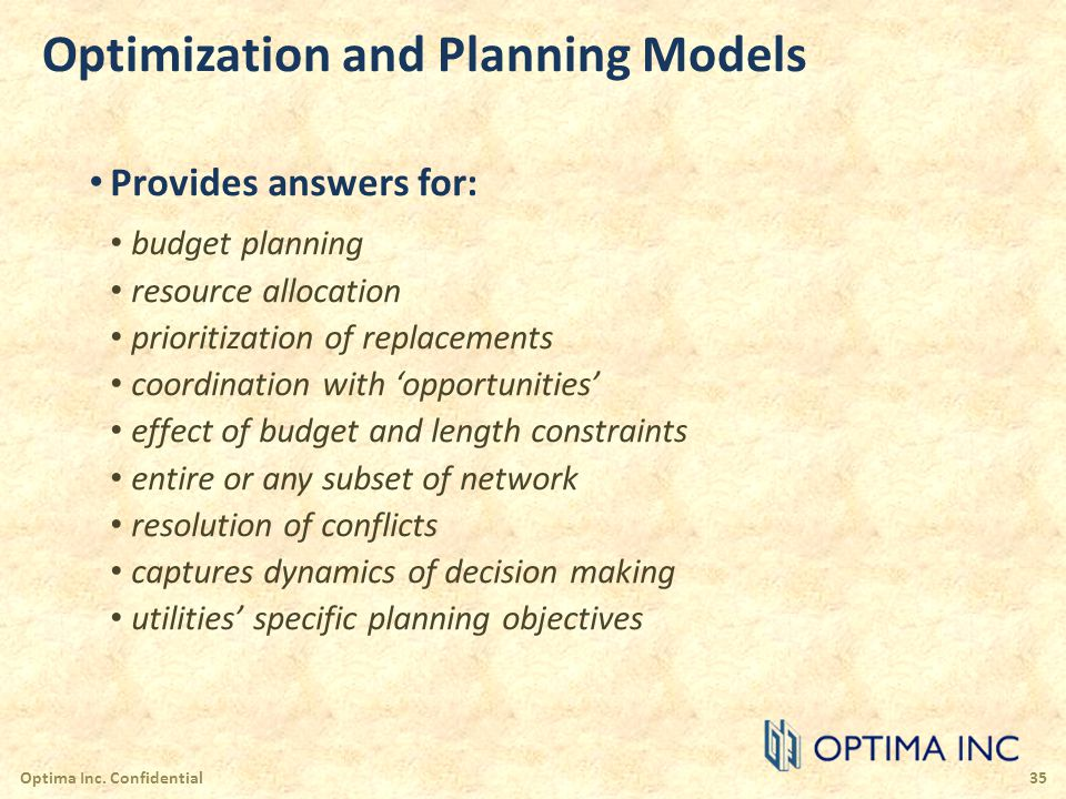Optimization and Planning Models