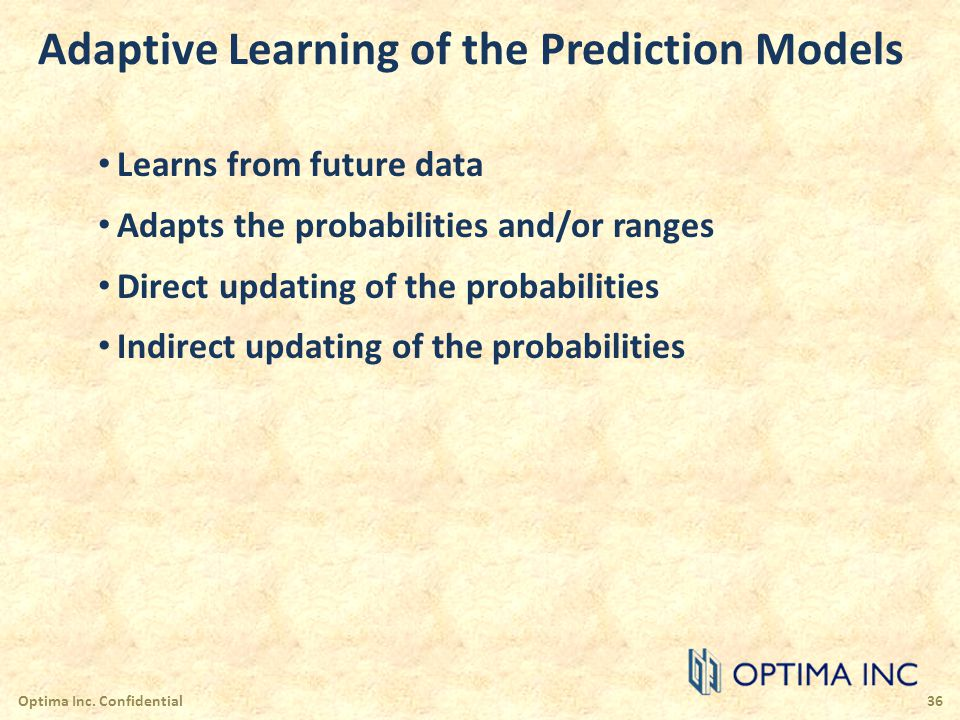 Adaptive Learning of the Prediction Models