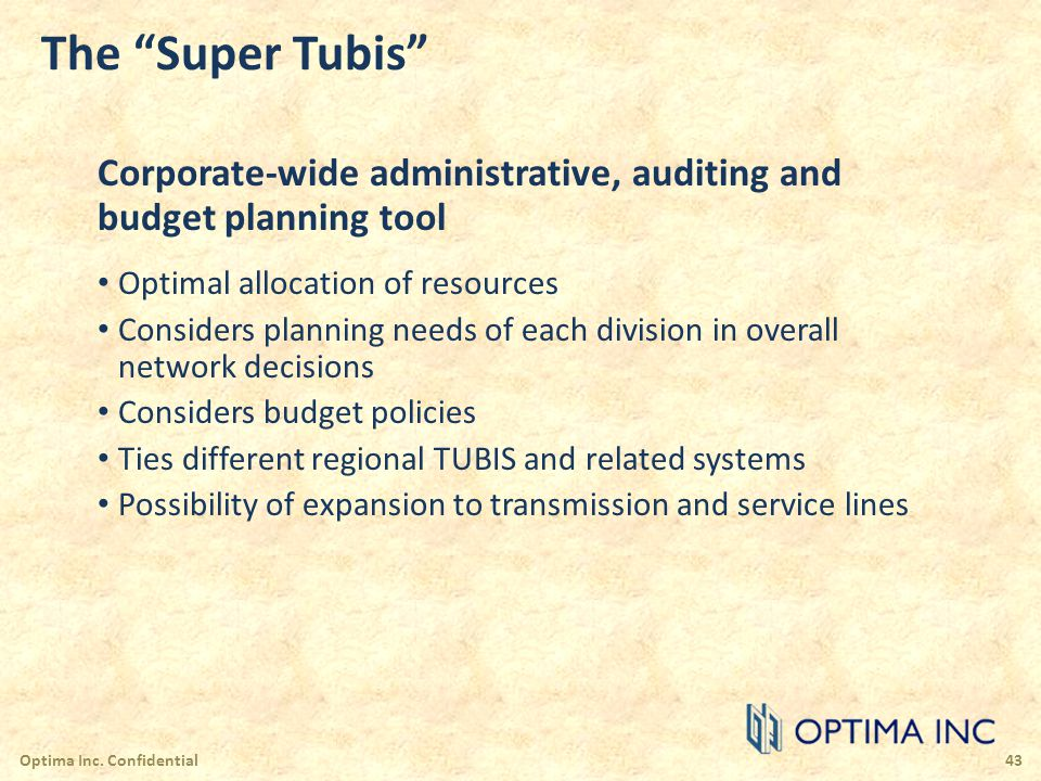 The Super Tubis Corporate-wide administrative, auditing and budget planning tool. Optimal allocation of resources.