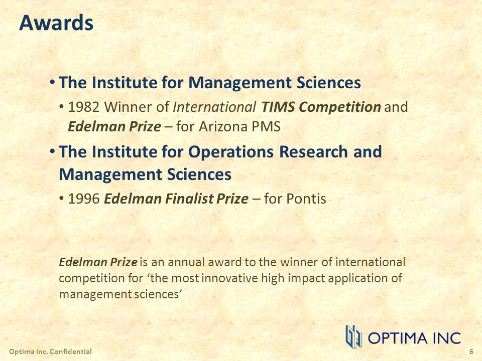 Awards The Institute for Management Sciences