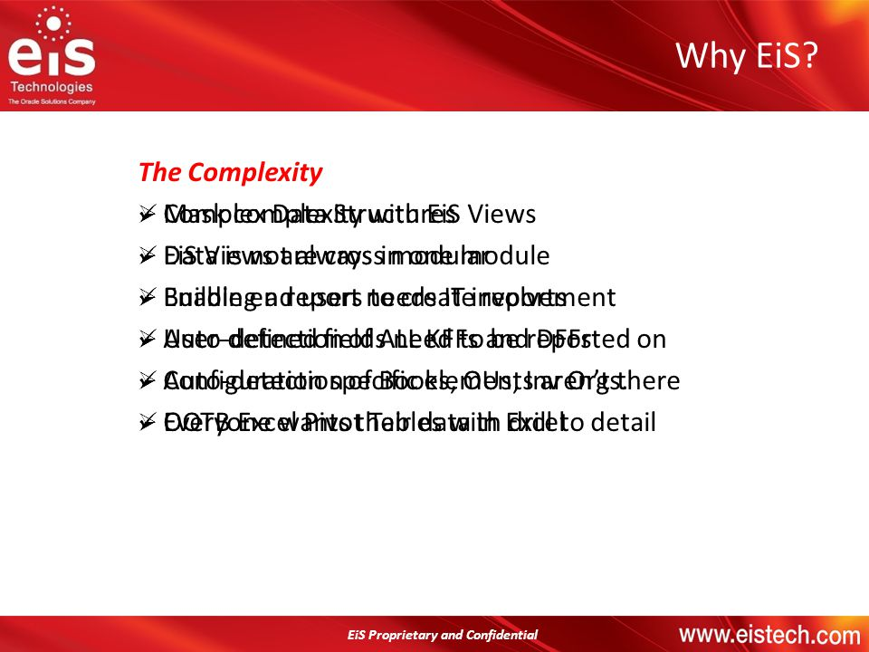 Why EiS Mask complexity with EiS Views EiS Views are cross modular