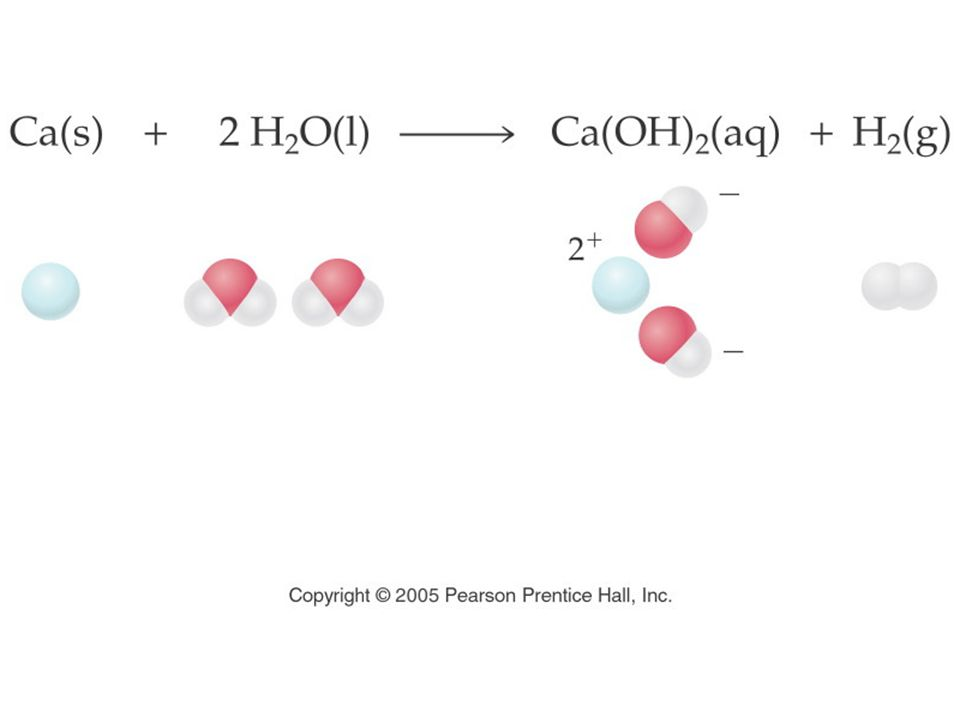 Figure: EQ13-UN Title: Calcium and water. Caption: Chemical equation of calcium hydroxide and its molecular models.