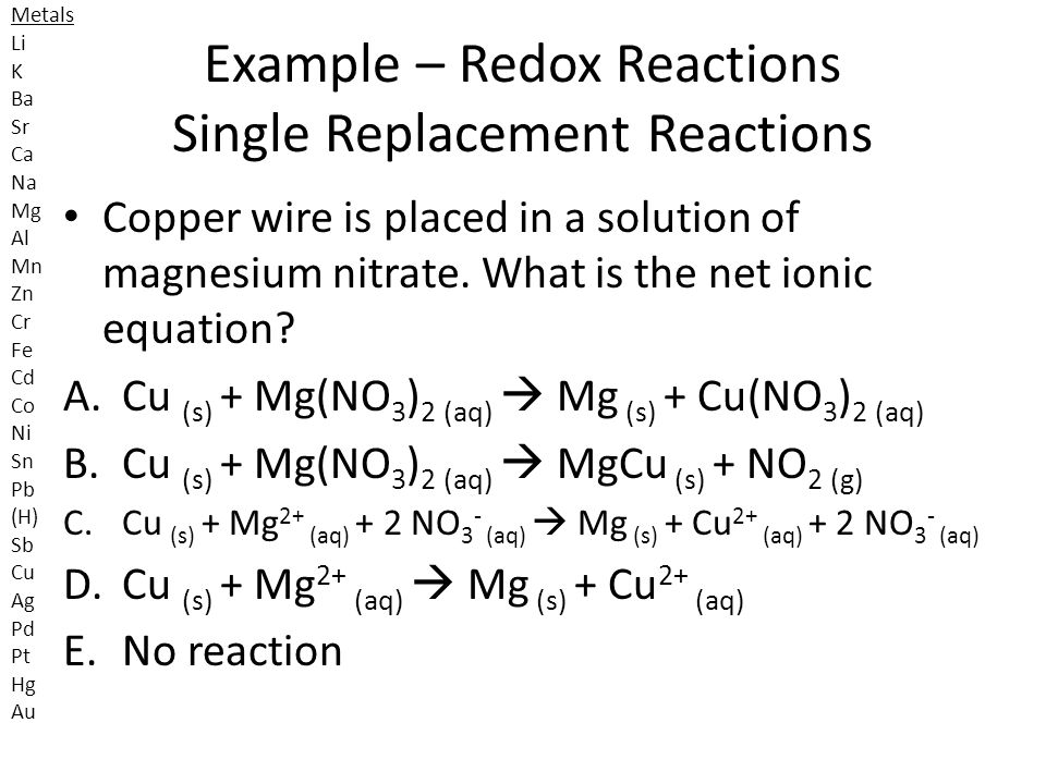 Example – Redox Reactions Single Replacement Reactions
