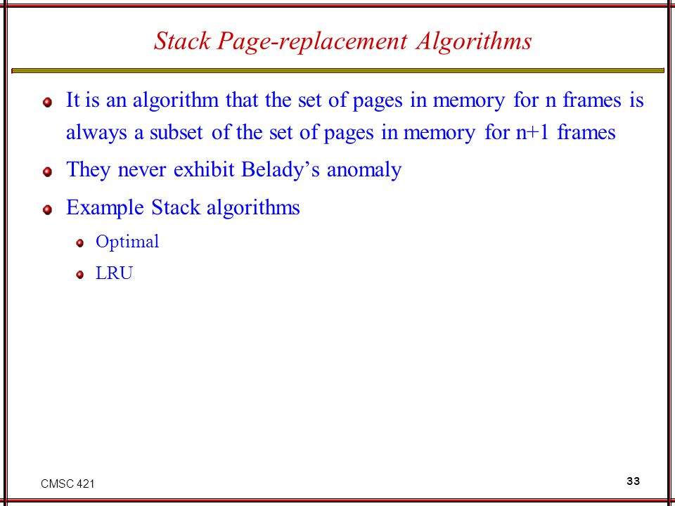 Stack Page-replacement Algorithms