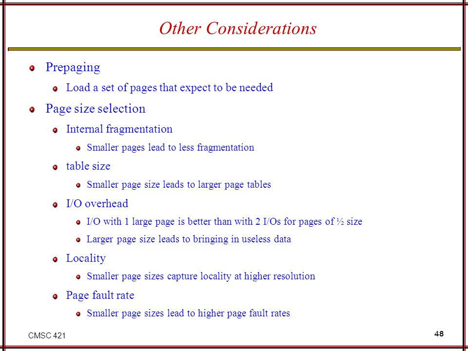 Other Considerations Prepaging Page size selection