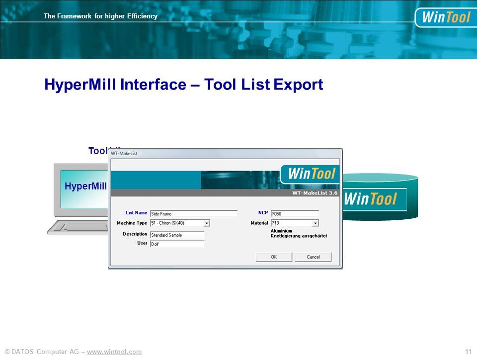 HyperMill Interface – Tool List Export