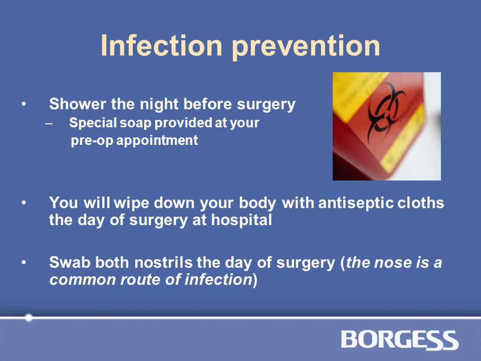 Infection prevention Shower the night before surgery