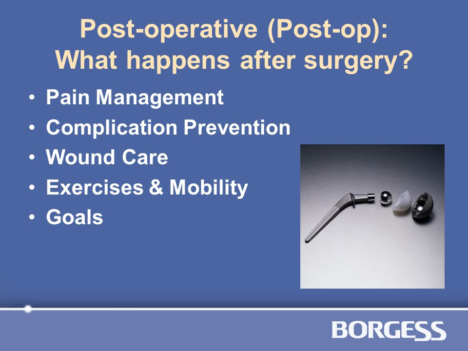 Post-operative (Post-op): What happens after surgery