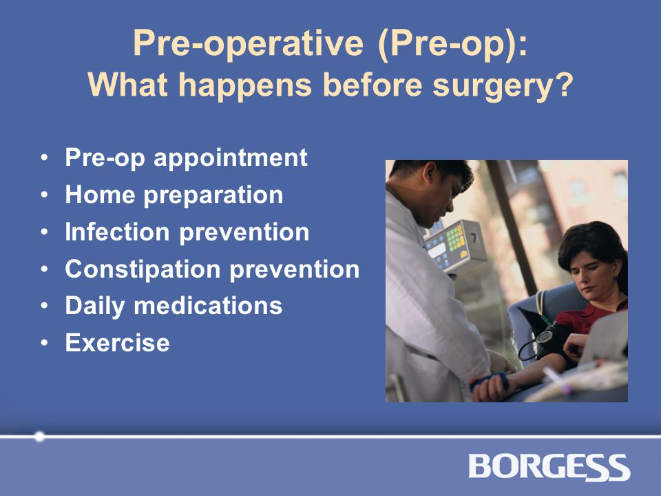 Pre-operative (Pre-op): What happens before surgery