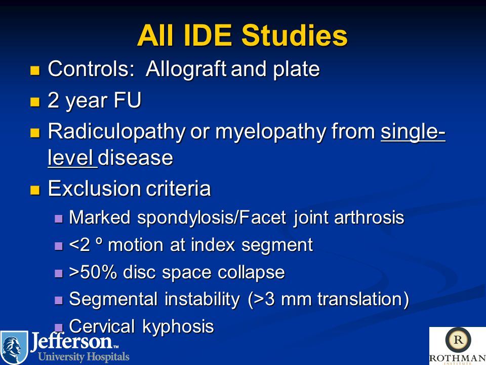 All IDE Studies Controls: Allograft and plate 2 year FU