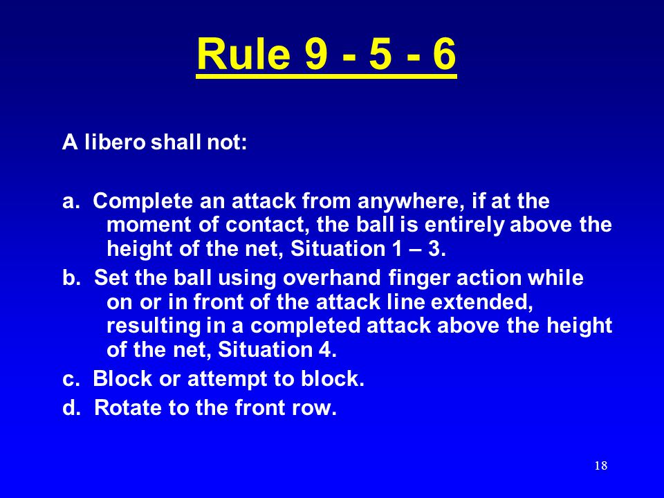Rule 9 - 5 - 6 A libero shall not: