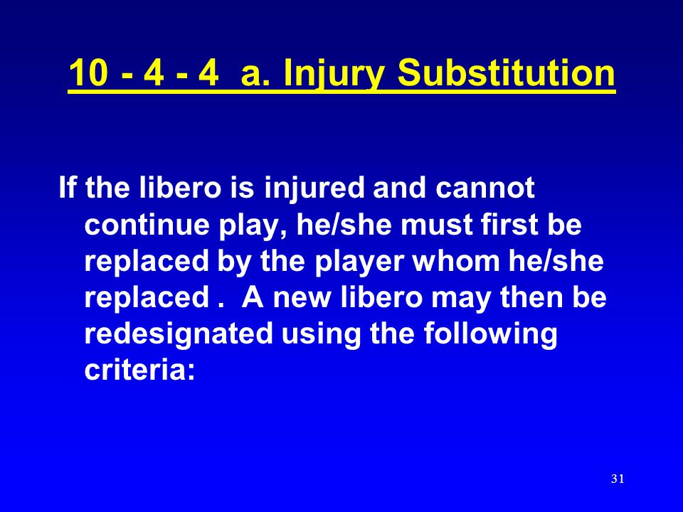 10 - 4 - 4 a. Injury Substitution