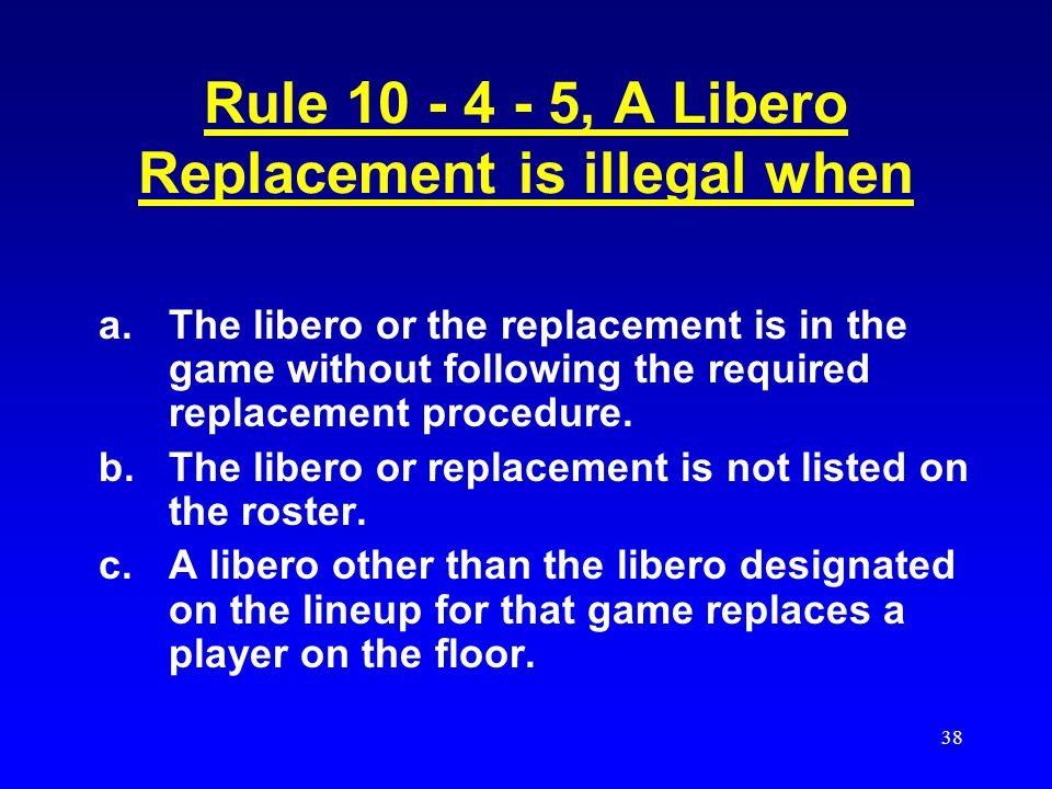 Rule 10 - 4 - 5, A Libero Replacement is illegal when
