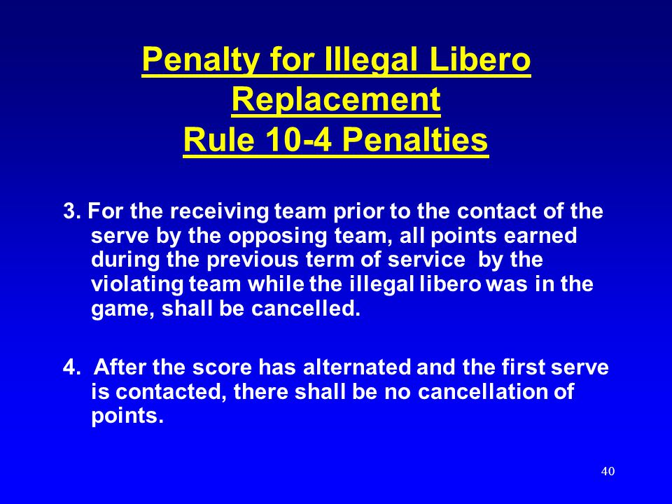 Penalty for Illegal Libero Replacement Rule 10-4 Penalties