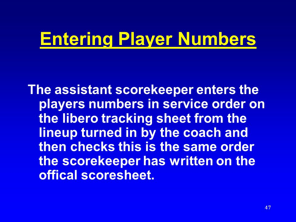 Entering Player Numbers