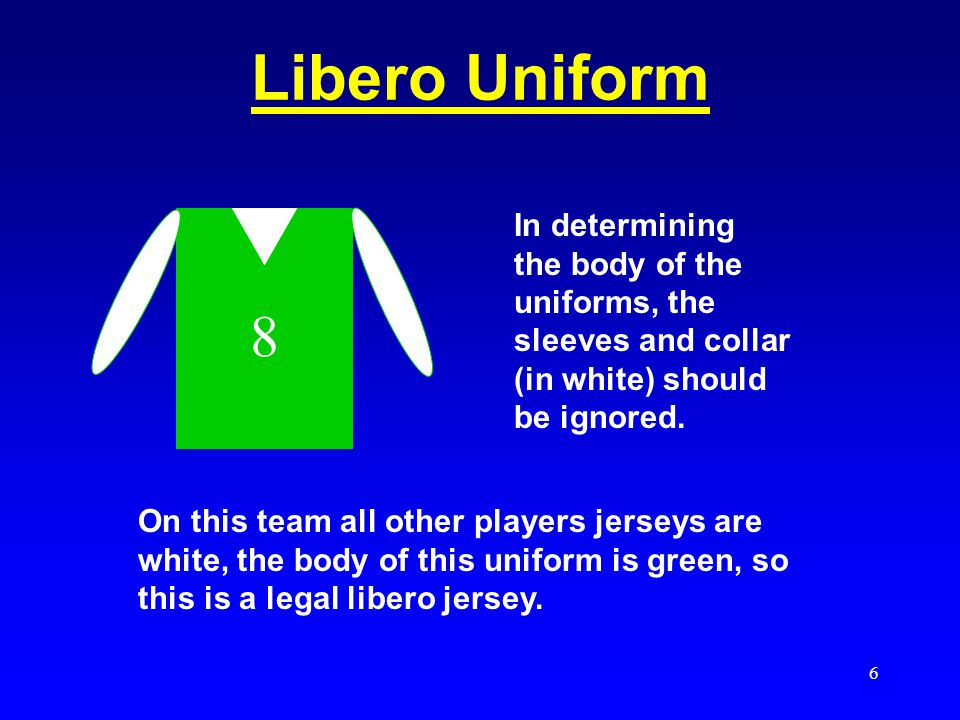 Libero Uniform 8. In determining the body of the uniforms, the sleeves and collar (in white) should be ignored.