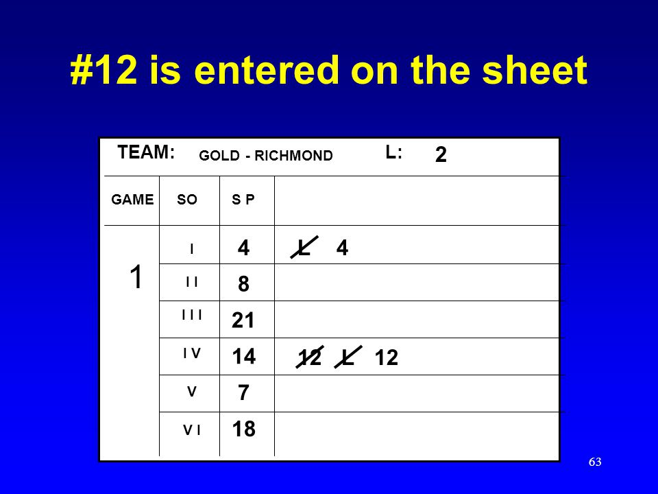 #12 is entered on the sheet
