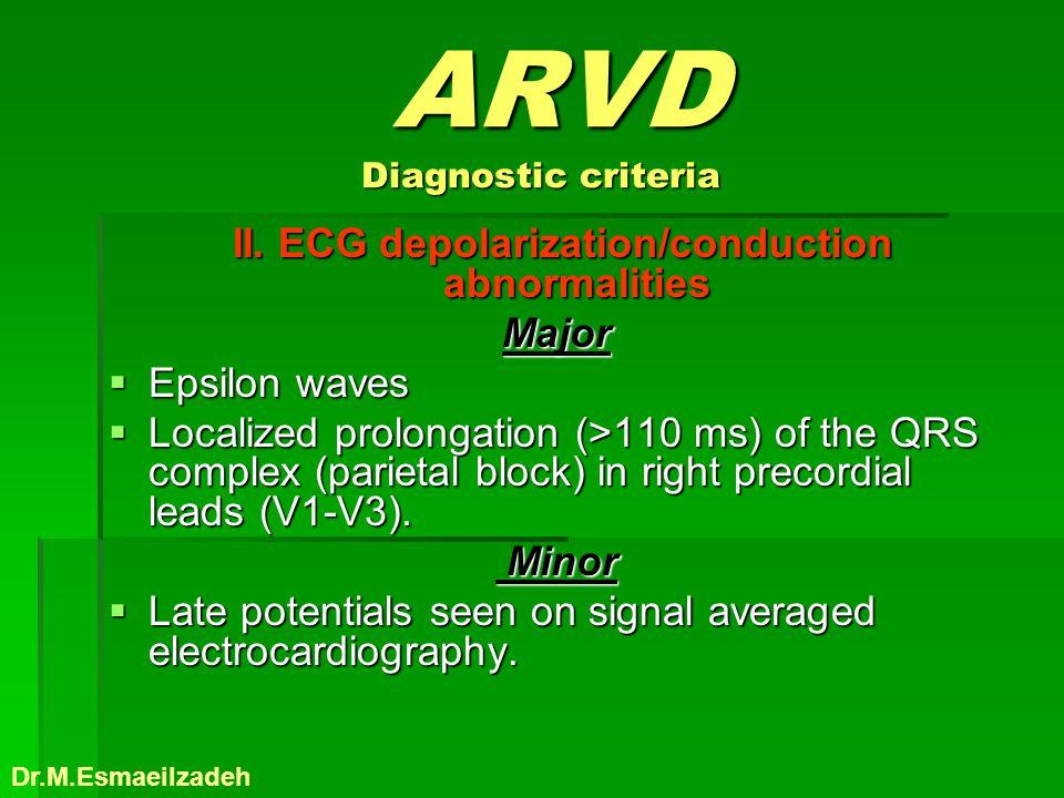 ARVD Diagnostic criteria