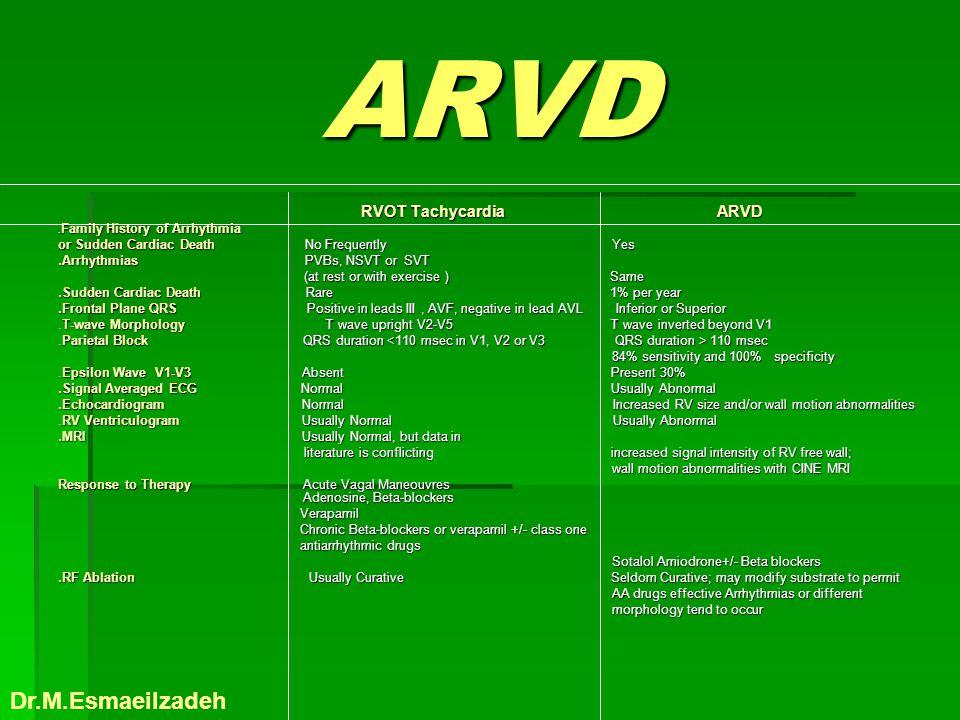 ARVD Dr.M.Esmaeilzadeh or Sudden Cardiac Death No Frequently Yes