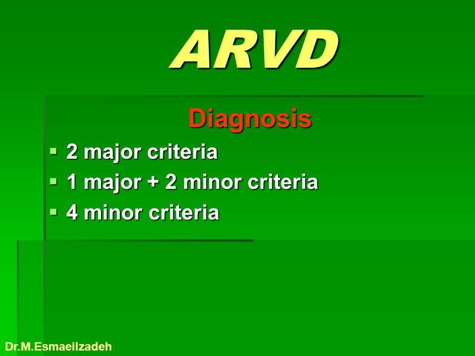 ARVD Diagnosis 2 major criteria 1 major + 2 minor criteria