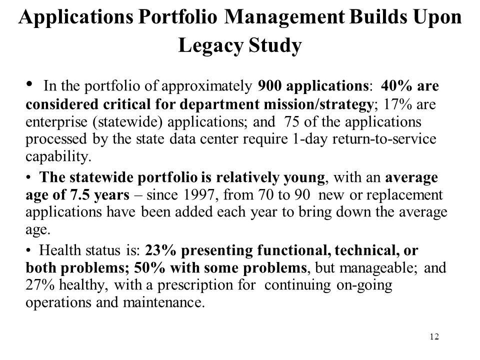 Applications Portfolio Management Builds Upon Legacy Study