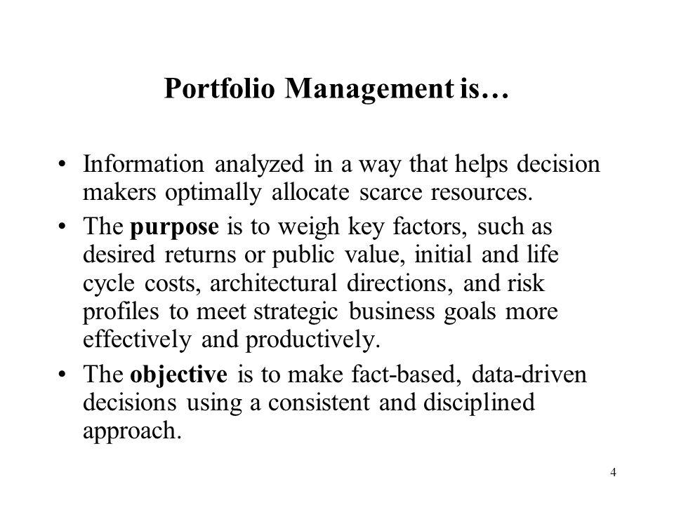Portfolio Management is…