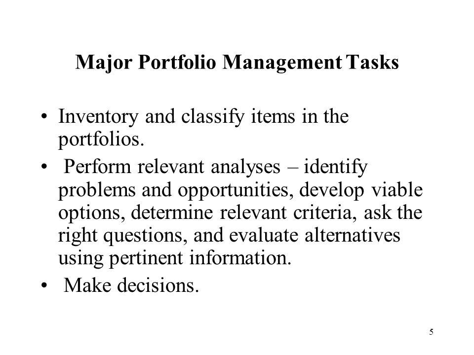 Major Portfolio Management Tasks