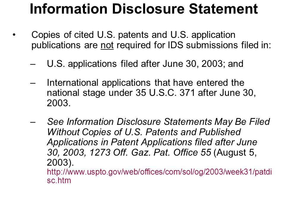 Information Disclosure Statement