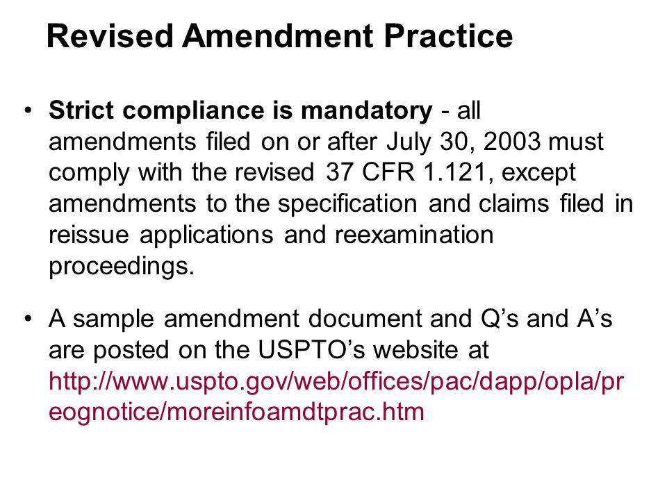 Revised Amendment Practice