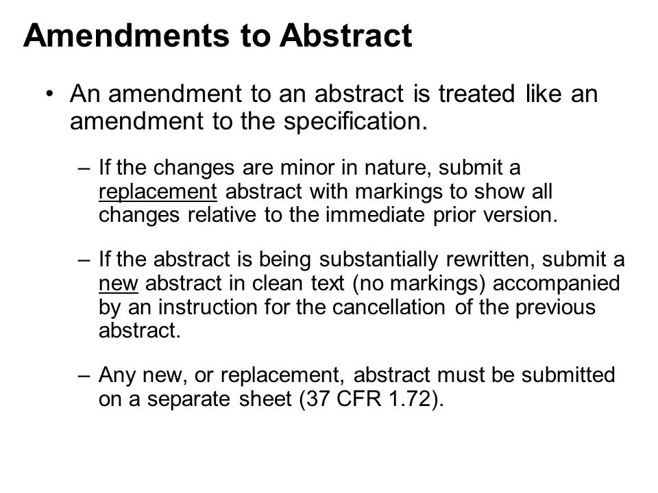 Amendments to Abstract