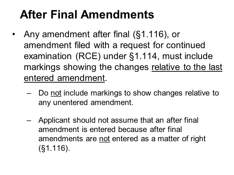 After Final Amendments