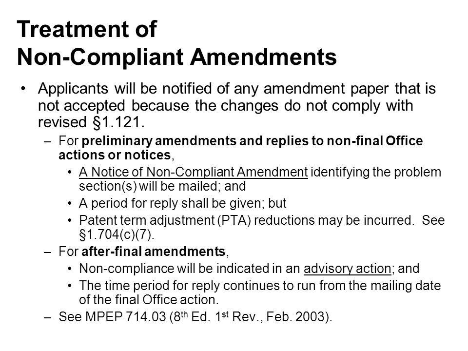 Non-Compliant Amendments