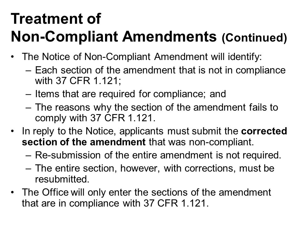 Non-Compliant Amendments (Continued)