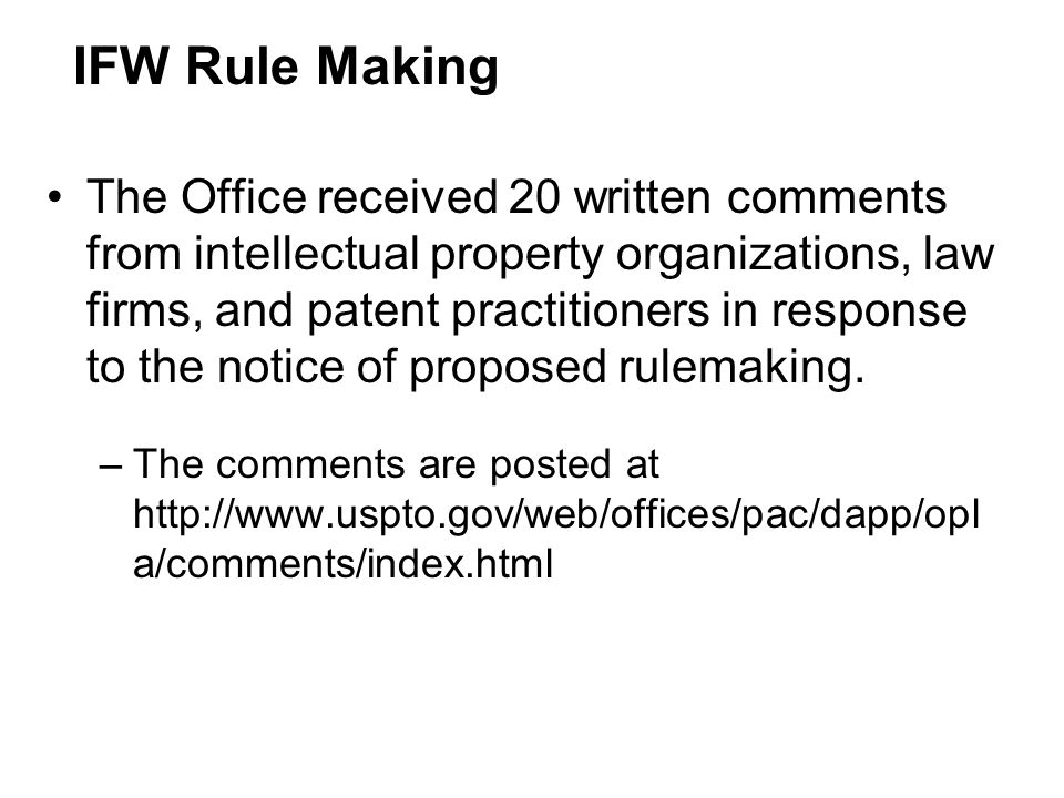 IFW Rule Making