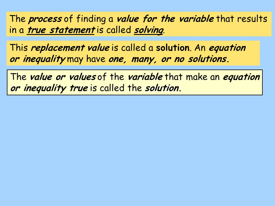 The process of finding a value for the variable that results in a true statement is called solving.
