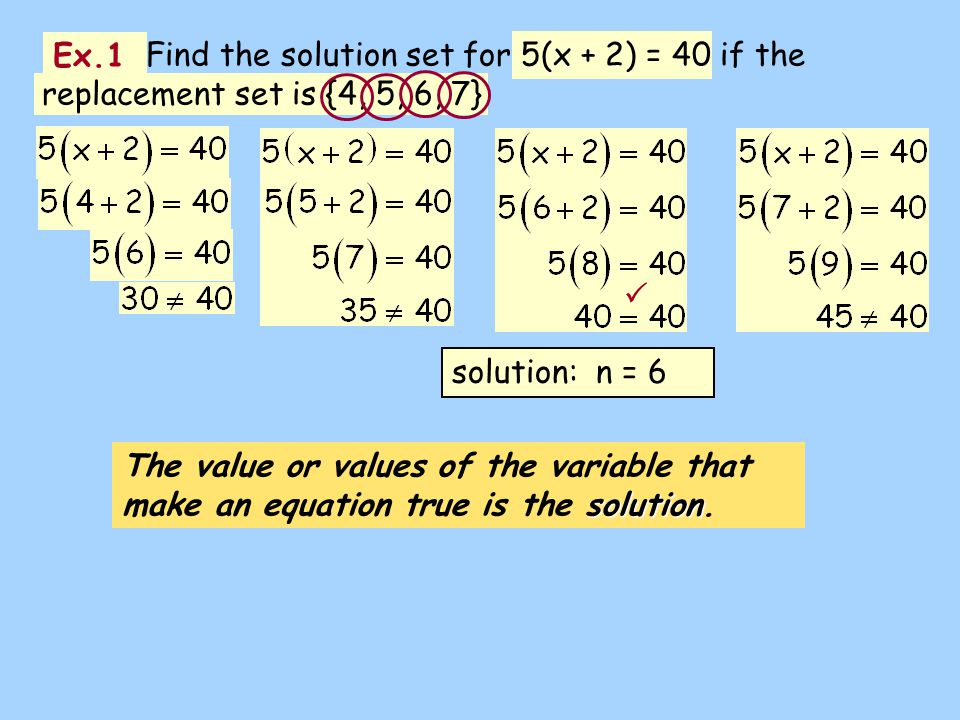 Find the solution set for 5(x + 2) = 40 if the replacement set is {4, 5, 6, 7}