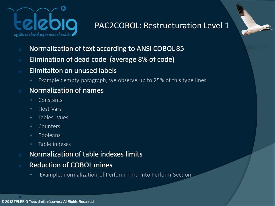 PAC2COBOL: Restructuration Level 1