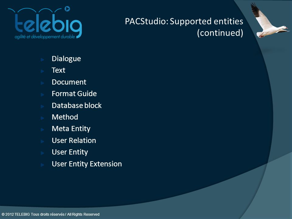 PACStudio: Supported entities (continued)