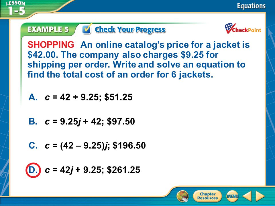 SHOPPING An online catalog's price for a jacket is $42. 00
