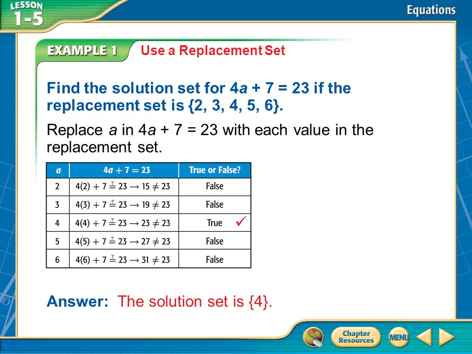 Replace a in 4a + 7 = 23 with each value in the replacement set.