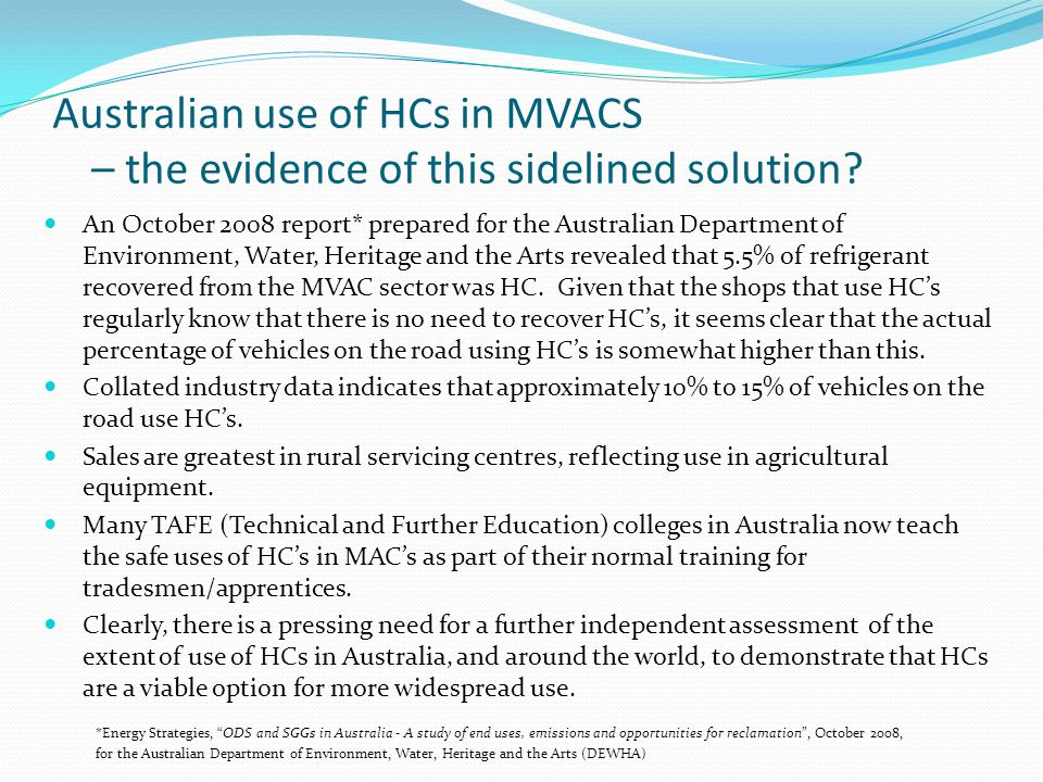 Australian use of HCs in MVACS – the evidence of this sidelined solution